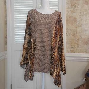 Champagne brown asymmetrical tunic blouse L